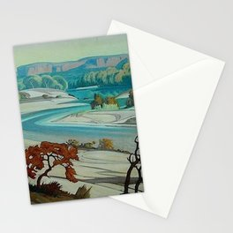 'River Scene at Day Break' desert canyon landscape painting by J.H. Pierneef Stationery Cards