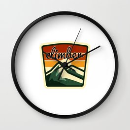 Climber saying with mountain view Wall Clock