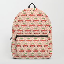 Red Vintage Holiday Christmas Cars Backpack
