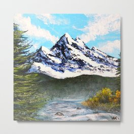 Bob Ross Art - Mountain Art Metal Print