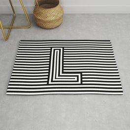Track - Letter L - Black and White Rug