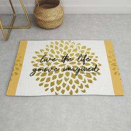 Live The Life You've Imagined Dahlia Gold Foil Rug