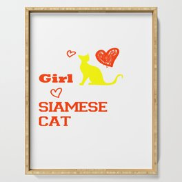 This Girl Loves Her Siamese Cat Kitten Breed Serving Tray