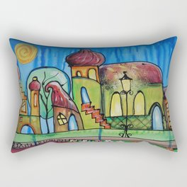 Landscape Painting Fairy town Acrylic S15 Contemporary Nursery Cityscape art for baby children kids Rectangular Pillow