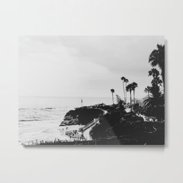 Laguna Beach | LoFi Black and White Relaxed Aesthetic Pink Sunset Palm Trees Hippie Ocean Waves Metal Print