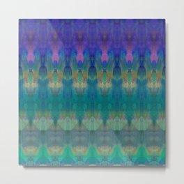 Tribal Diamonds Watercolour Blue Metal Print