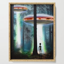 UFO Alien Forest / Flying Saucers Serving Tray