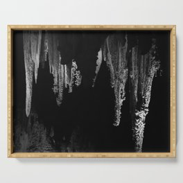 Caverns in Black and White Serving Tray