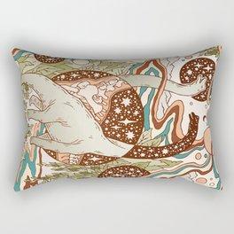 Jurassic Portal | Retro Rainbow Palette | Dinosaur Science Fiction Art Rectangular Pillow