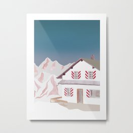 Mountain Love Hut Metal Print