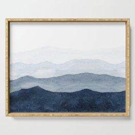 Indigo Abstract Watercolor Mountains Serving Tray