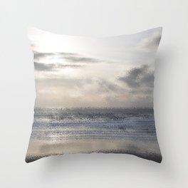 Silver Scene ~ Ocean Ripple Effect Throw Pillow