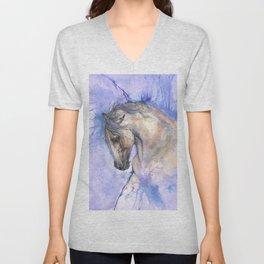 Horse on purple background Unisex V-Neck