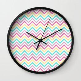 Zig Zag Rainbow Pastel Pattern Wall Clock