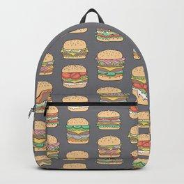 Hamburgers Junk Food Fast food on Dark Grey Backpack