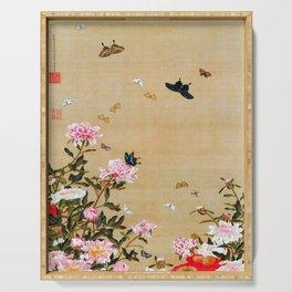 Ito Jakuchu - Butterflies And Peonies - Digital Remastered Edition Serving Tray