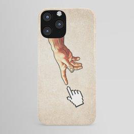 Funny 8bit Nerd & Geek Humor (Creation of Adam Parody) iPhone Case
