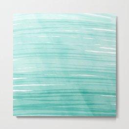 Mint & White Water breeze stripes Metal Print