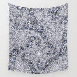 Gray Fractal Spirals Wall Tapestry