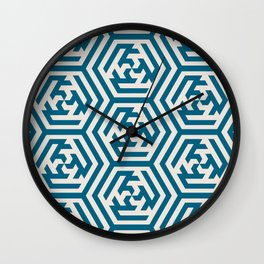 Moroccan Teal Ornate Geometric Pattern Wall Clock