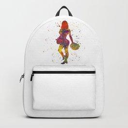 young woman Cheerleader Art Girl Poms Dance in watercolor 10 Backpack