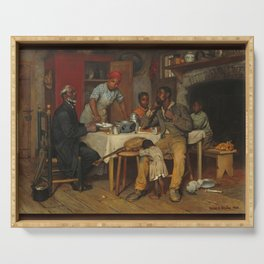 A Pastoral Visit, by Richard Norris Brooke, 1881 . An African American family Serving Tray