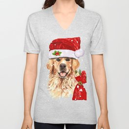 Golden Retriever Dog Christmas Holiday Gift Unisex V-Neck