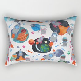 Watercolor Space Cats Rocket Ship Galaxy Pattern Rectangular Pillow