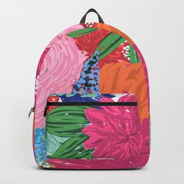 Pretty Colorful Big Flowers Hand Paint Design Backpack