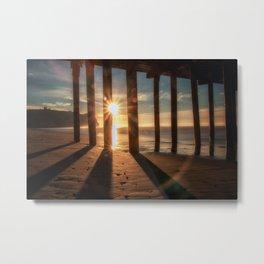 Through the Blinds sun bursts through Avila Pier Avila Beach California Metal Print