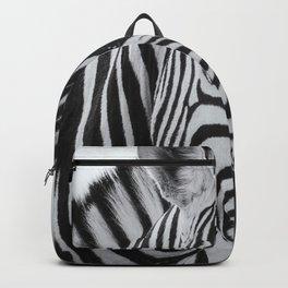 Portrait of a Plains Zebra bw Backpack