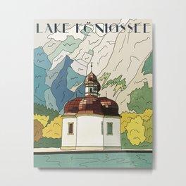 Lake Konigssee Vintage Travel Poster Metal Print