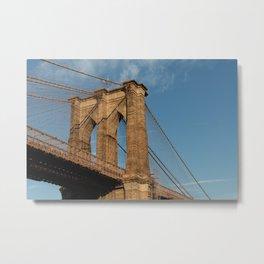 Brooklyn Bridge Lit by the Sun Metal Print