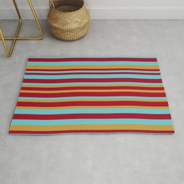 Golden, Red Wine and Turquoise Vintage Stripes Rug