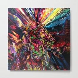 Neon Dragon slaying Metal Print