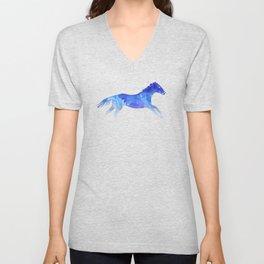 Watercolor Horses Pattern - Blue Unisex V-Neck