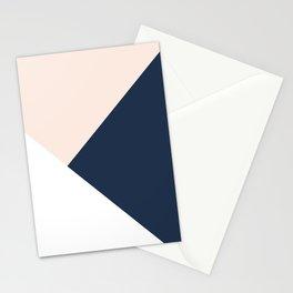 Blush meets Navy Blue & White Geometric #1 #minimal #decor #art #society6 Stationery Cards