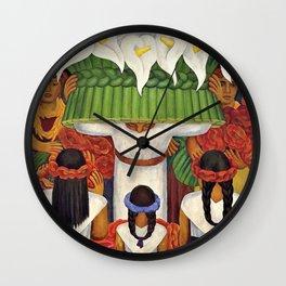 Flower Festival No. 2 - Feast of Santa Anita by Diego Rivera Wall Clock