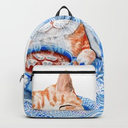 Happy Cat Drinking Hot Chocolate Backpack