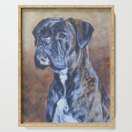 brindle BOXER dog art portrait from an original fine art painting by L.A.Shepard Serving Tray