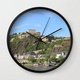 Koblenz mit Festung Ehrenbreitstein Wall Clock