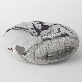 mona lisa - banksy Floor Pillow