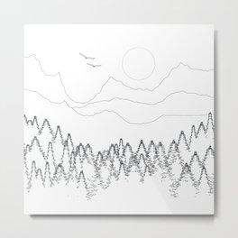 Minimal Mountain Forest Landscape Metal Print