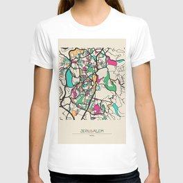 Colorful City Maps: Jerusalem, Israel T-shirt