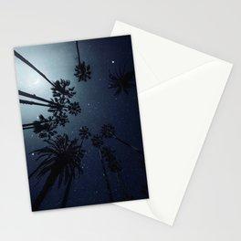 Palm Trees, Night Sky, Stars, Moon Stationery Cards