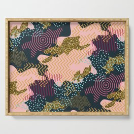 Camouflage modern illustration pattern in a shades of pink, gold glitter, blue, black colors. Serving Tray