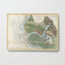 Vintage Oakland and San Antonio Creek Map (1857) Metal Print