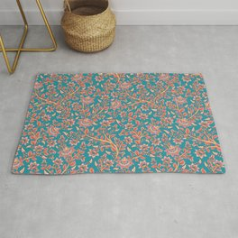 Flowers on Turquoise Background. Rug