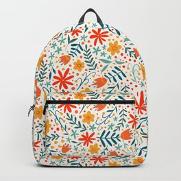 Folk Floral Pattern - Bright, bold hand-drawn flowers on a light background Backpack