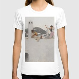 Classical Masterpiece Capri Girl on a Rooftop by John Singer Sargent T-shirt